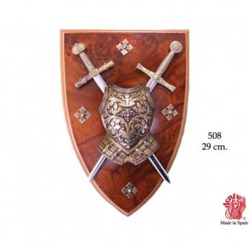 Scudo Panoplia con Busto Armatura e 2 spade estraibili (0508)