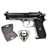 Beretta 92FS Full Metal Scarrellante A Gas Nera/Silver HFC (HG 194BS)