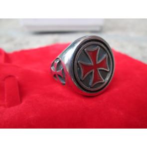 Anello Brunito Croce Templare Rossa