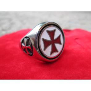 Anello Croce Templare Smaltata Argento