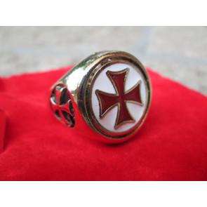 Anello Croce Templare Smaltata Oro