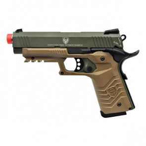Pistola Green Gas 1911 Custom Full Metal Scarrellante Con Fusto Tan E Canna Verde HFC (HG 171G)