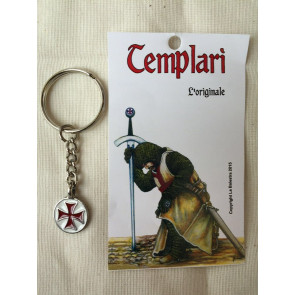 Portachiavi Templare Croce Rossa e Bianco Smaltato