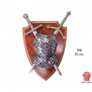 Scudo Panoplia con Busto Armatura e 2 spade estraibili (0506)